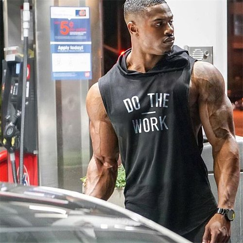 Running Hooded Vest Men Brand Clothing Gym Bodybuilding Sleeveless T Shirt Fitness Men Tank Top Muscle Stringer TankTop