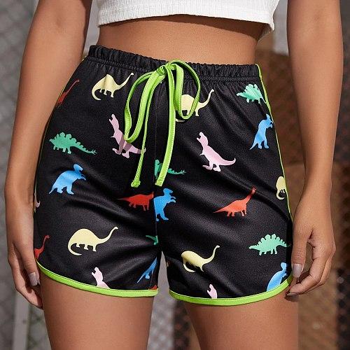 High Waist Dinosaur Print Drawstring Sports Shorts For Women Summer Casual Ladies Workout Gym Fitness Short Pants Homewear