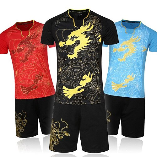 China Flag Men / Women Table Tennis Jersey Shorts Sets , Male / Female Ping Pong Shirt Suits , Girl Tennis Sport Dragon Clothes