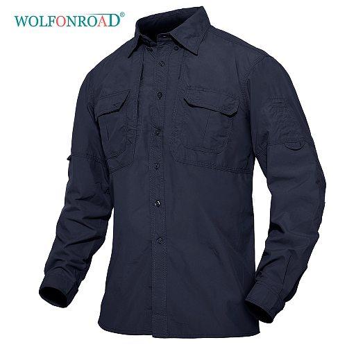 WOLFONROAD Multi-Pocket Outdoor Shirt Mens Anti-UV Work Shirt Hiking Fishing Sports Sweat Releasing Long Sleeve Nylon Shirt Tops