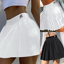 VERTVIE Casual White Mini Pleated Skirts Shorts Letter Print High Waisted Short Skirt Korean Preppy Style Summer Dance 2021