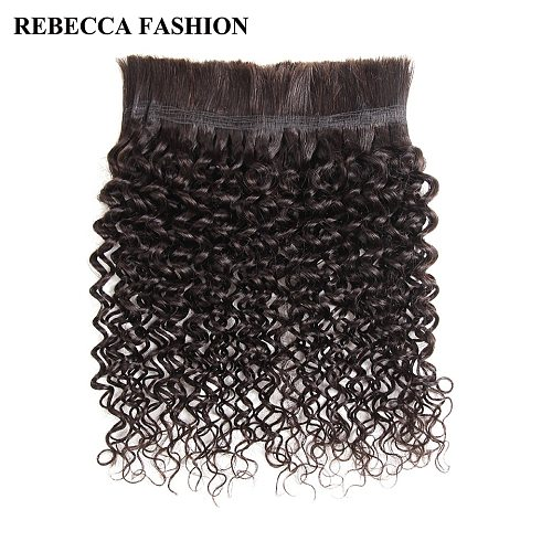Rebecca No Weft Peruvian Remy Human Hair Crochet Braids Bulk 4 Pcs Jerry Curl Bulk Human Hair For Braiding Natural Color