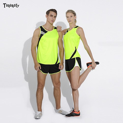 Adult sports suits table tennis running set sleeveless for men or women running suit family Jogging Track field sportswear blue