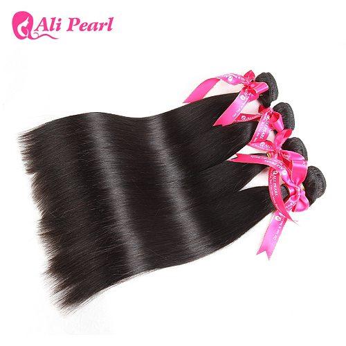 AliPearl Hair Straight Human Hair Bundles 4 Pcs Weft Brazilian Hair Weave Bundles Natural Color 8-30inches Remy Hair Extensions