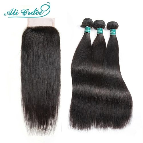 Ali Grace Straight Hair Bundles With Closure 4x4 Closure with Bundles Brazilian 28 inch Human Hair Bundles with HD Lace Closure