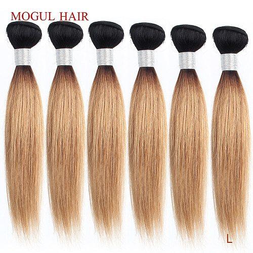 MOGUL HAIR 4/6 bundles 50g/pc 10 -16  1B 27 Dark Root Ombre Honey Blonde 1B 613 Platinum Blonde Straight Remy Human Hair Weave