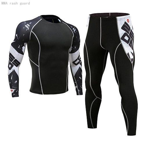 MMA Compression Sportswear Men's Jogging skin care kits Sports Fitness T-shirt rashguard Male Gym leggings Running tracksuit Men
