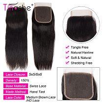 Tinashe HD Transparent Lace Closure Free Middle Part 5x5 6x6 Lace Closure Brazilian Human Hair Straight Hair HD Lace Closure