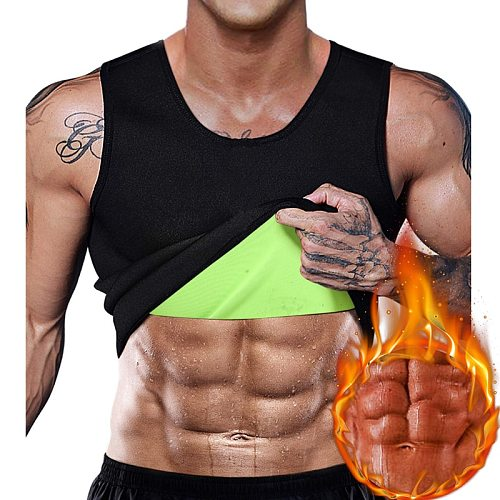 Men Slimming Body Shaper Thermal Shirt Sauna Sweat Vest Workout Tank Top Compression Suits Weight Loss Waist Trainer Shapewear