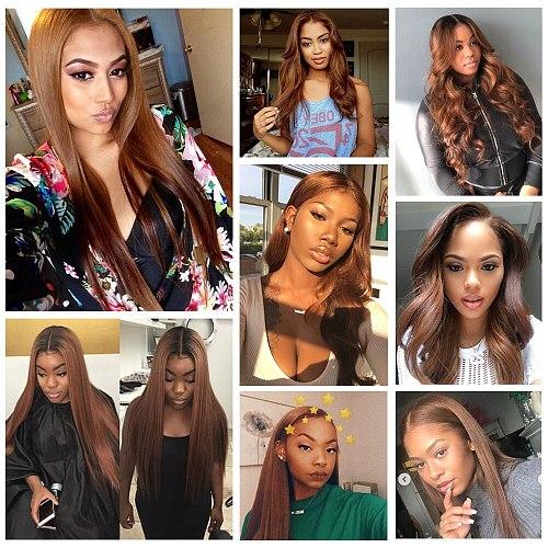 Wholesale Pre Colored Brown Straight Hair Weave Bundles Brazilian Human Hair Extension #4 Light Brown Color Remy Bulk 1-4 Lots