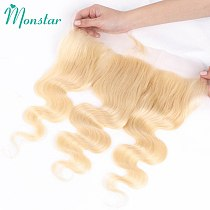 Monstar 13x4 Lace Frontal 613 Blonde Brazilian Remy Human Hair Body Wave Frontal Swiss Lace 13*4 Ear to Ear Lace Frontal Closure