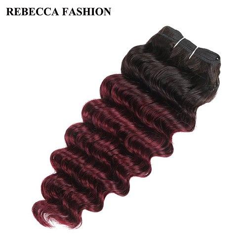 Rebecca Remy Human Hair Brazilian Deep Wave Hair Weave 1 Bundle Pre-Colored Ombre Wine Red T1b/99j Salon Hair Extension 100g