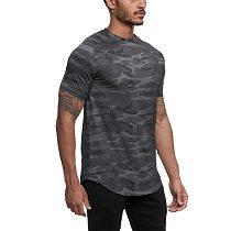 2021 Camo Sport Shirt Men Short Sleeve Workout Gym TShirt Men Compression Slim Fit Running Tshirt Men Fitness Tops Sport T Shirt