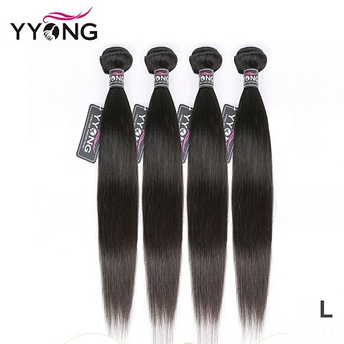 Yyong Peruvian Straight Hair Bundles 100% Human Hair Weaves 4 Bundles Natural Color Remy Hair Extension 8-26  Can Be Restyle