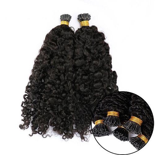 Afro Kinky Curly Microlinks Hair Extensions Human Hair 3Bundles Brazilian Virgin Hair I Tip Hair Extensions For Black Women Cara