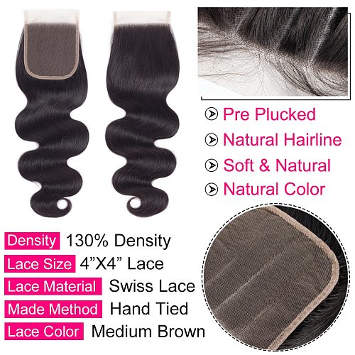 Body Wave Closure Natural Color Brazilian Human Hair 4x4 Lace Closure 8-22 Inches Free Shipping Remy Hair Gabrielle