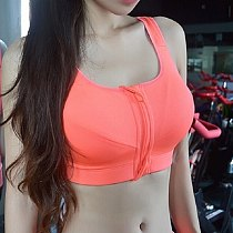 High Quality Women Zipper Sports Bras Plus Size Wirefree Padded Push Up Tops Lady Girls Breathable Fitness Run Gym Yoga Vest