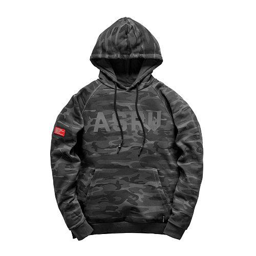 Men Garment-Dyed Reverse Knit Hoodie Black Camo Gyms Hoodies Gyms Fitness Bodybuilding Sweatshirt Pullover Sportswear Workout