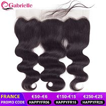 Gabrielle 13x4 Transparent Lace Frontal Human Hair Pre-plucked 4x4 5x5 2x6 Lace Closures Only Brazilian Body Wave Remy Hair