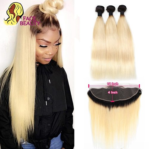 Facebeauty 1B 613 Dark Root Blonde Ombre Brazilian Remy Straight Hair 3/4 Bundle with 13x4 Lace Frontal Closure Free Middle Part