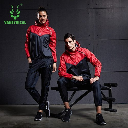 VANSYDICAL Sauna Suit Mens Gym Clothing Set Hoodies Pullover Sportswear Running Fitness Weight Loss Sweating Sports Jogging Suit