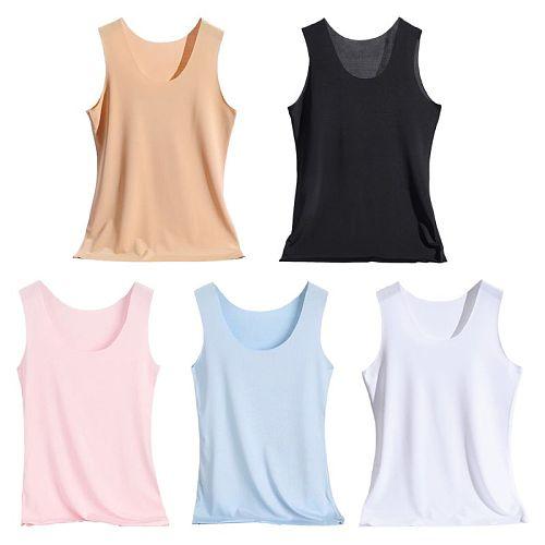 2021 New Women Seamless Tank Top Wide Shoulder Straps Ice Silk Slim Vest Basic Underwear