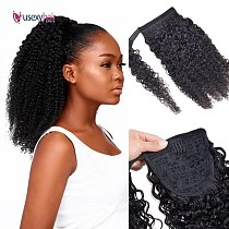 USEXY Curly Brazilian Human Hair Wrap Around Ponytail Clip In Ponytail Human Hair Extensions Remy Curly Hair For Black Women