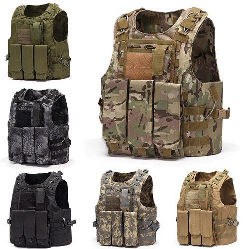 Multi-Function Hunting Vest Military Tactical Combat Vest Molle Combat Assault Plate Carrier Tactical Vest CS Outdoor Clothing