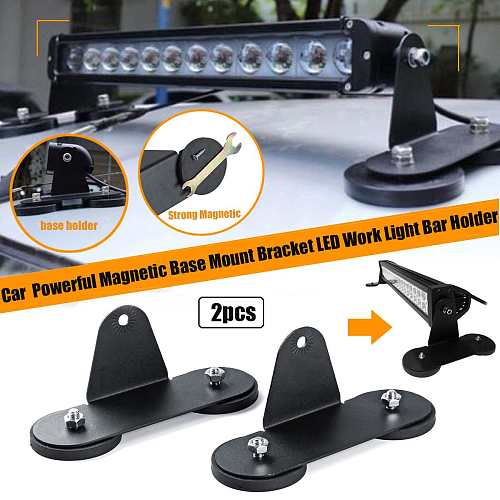 2pcs Mount Bracket Holder Roof LED Light Bar for Offroad Car Light Base Holder with Strong Magnetic Punching-free