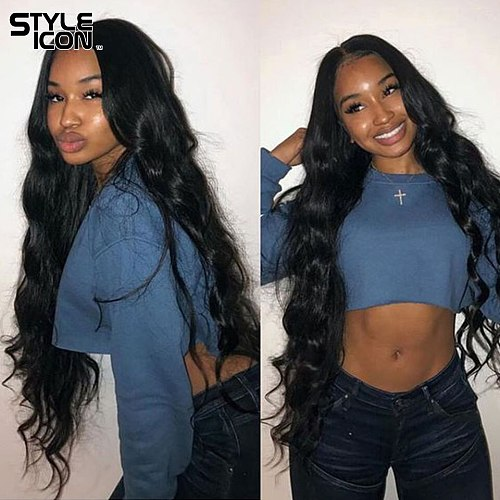Styleicon Peruvian Body Wave Bundles with Frontal 2 3 4 Bundles with Frontal Closure Natural Human Hair Weaving with LaceFrontal