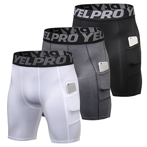 3 Pack Men Compression Shorts Running Training Fitness Shorts Breathable Active Workout Underwear with Pocket 2020 New