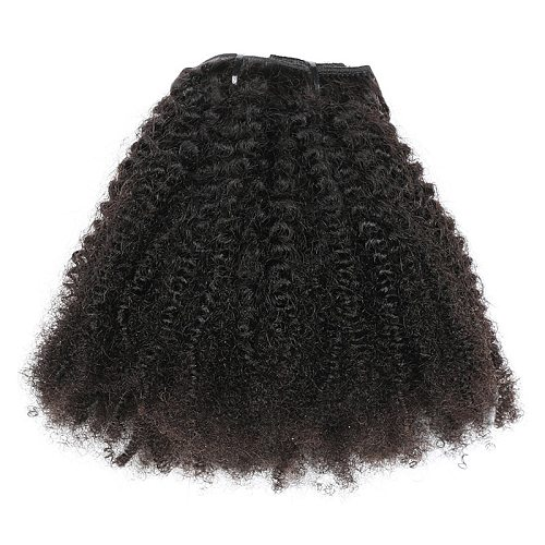 Isheeny 8pcs/set Afro Kinky Curly Wave Human Hair Clip In Hair Extensions 12 -20  Natural Color 120g Remy Hair