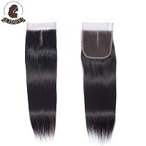 Liddy 4x4 Lace Closure 100% Human Hair Straight Closure Brazilian Hair Weaving Natural Color Non-remy Hair Frontal Closure