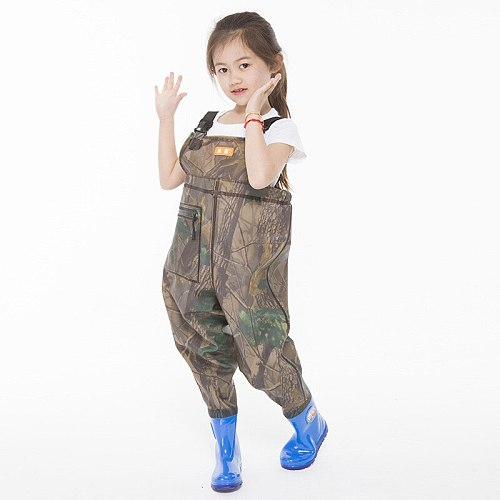 Kids Jumpsuit Waterproof Wading Pants With Rain Boots Playing Water Sports Garden Beach Fishing Hunting Children Wader Trousers