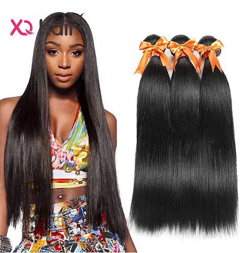 XQ Hair Brazilian Straight Hair Weave Bundles 3 Bundles 100% Human Hair Natural Color From 8 to 26 inch Remy Human Hair