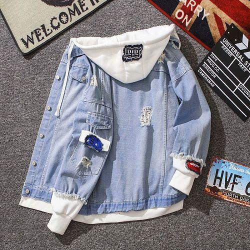 Spring Autumn Hooded Denim Jacket Men's Hip Hop Jeans Coat Retro Jean Jacket Street Casual Bomber Jacket Outerwear Hoodies