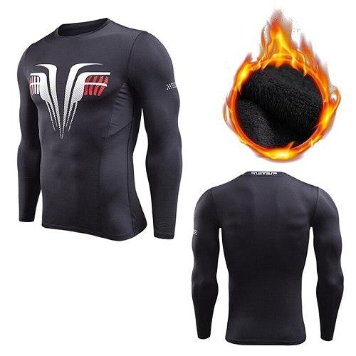 Velvet Winter Shirt Men Sport T-shirts Compression Fitness Sweater Crossfit Jersey Running Tops Rashgard Warm tshirts for Winter