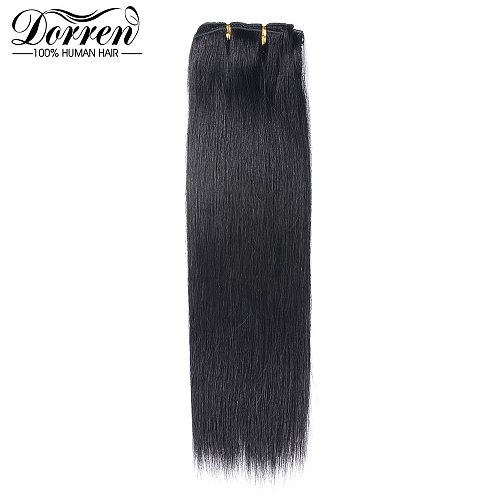 Doreen 10 12 14 16 Malaysia Short Double Weft Clip In Human Hair Extensions Thick 100% Straight Hair Clip In Extensions 7 Pieces