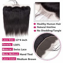 Bling Hair Transparent 13x4 Lace Frontal Closure Peruvian Straight Human Hair Closure Brown 4x4 Lace Closure Remy Hair 8-22 Inch