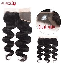 Body Wave 13x4 4x4 Lace Frontal Human Hair Closure with Baby Hair Brazilian Jet Black Natural Hairline Free Part Lace Closure
