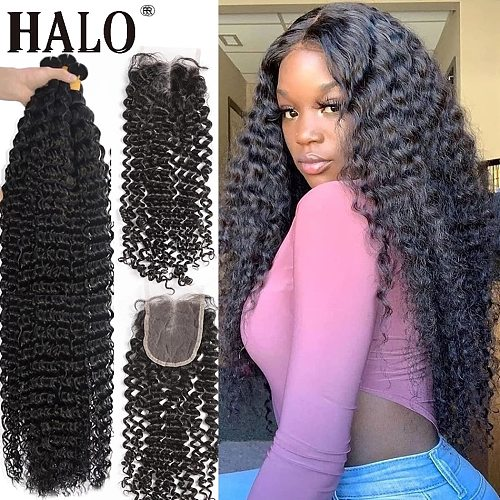 Halo 28 30 40 Inch Deep Wave Brazilian Hair Weave 3 4 Bundles With Lace Frontal And Closure Water Curly Remy Hair Vendors Cheap
