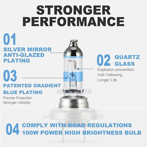 2x 100W H1 H7 H8 H11 9005 HB3 9006 HB4 HeadLight HOD Xtreme Lamp 4300K Xenon White Blue Glass Replacement Car Halogen Light Bulb