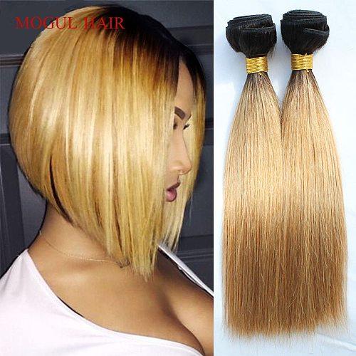 MOGULHAIR 4/6 Bundles 50g/pc 1B 27 Ombre Honey Blonde Dark Brown Straight Remy Human Hair 613 Natual Color Short Bob Style