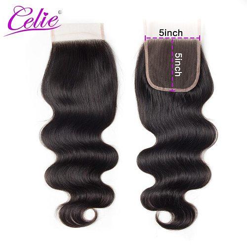 Celie 5x5 Lace Closure Body Wave Closure 100% Brazilian Human Hair Closure Remy Natural Black Color 5X5 HD lace Closure
