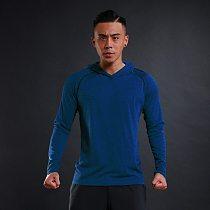 WOSAWE Spring Running T Shirts Quick Dry Men's Hooded Collar Tops & Tees Shirt Men Full Sleeve Slim Male hoody Training Shirt