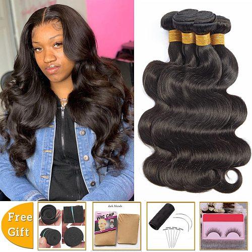 lanqi wholesale human hair bundle deals bulk body wave 4 bundles non-remy hair extensions Peruvian Brazilian hair weave bundles