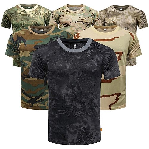 New Python Print Military Camouflage Dryfit Fast Drying Shirt Top Sleeve Gym T-shirt For Men Outdoor Camping Mascube Compression