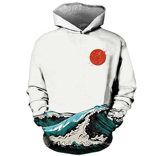 3D digital printing hoodie streetwear couple winter coat fashion loose sea moon painting Japanese hooded sweatshirt men's