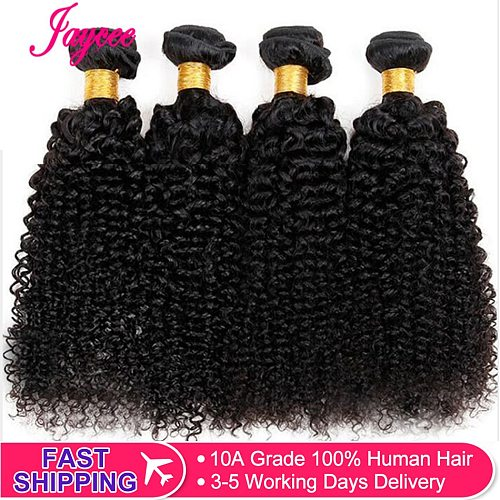Jaycee Afro Kinky Curly Hair 1/ 3 / 4 bundles deal Raw Indian Hair Bundles Human Hair Weave Extension Natural Color 100G Remy