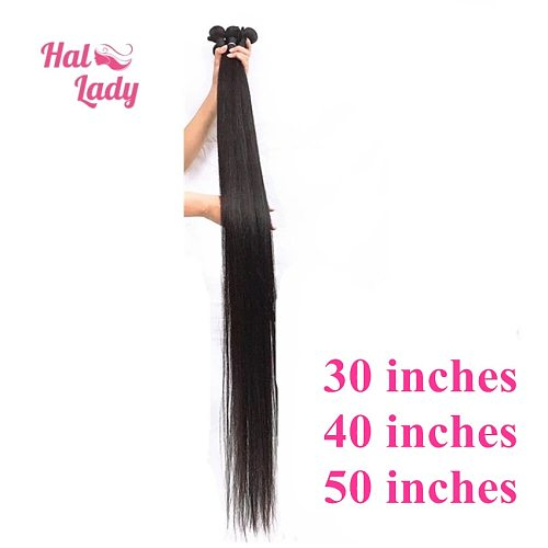 Halo Lady Beauty Brazilian Virgin Hair Extension Straight Unprocessed Human Hair Weaves 30 32 34 36 38 40 50 Inches 1 Bundle 1b